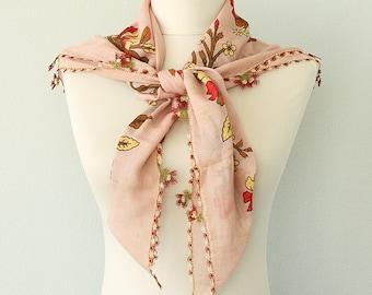 Vintage cotton scarf Boho summer shawl Hand printed scarf Oya Turkish Scarves Yemeni needle lace Needlework head scarf Pink salmon scarf