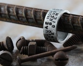 Personalize Man Ring Silver Hand Stamped Custom Jewelry