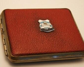 Vintage cigarette case. Crest of Paignton Devon.  Can be used as a business card case