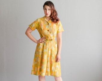 Vintage 1960s MOD Dress - 60s Abstract Print Dress - Sun Kissed Dress
