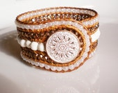 White Wedding Turquoise Cuff Beaded Leather Wrap Bracelet Czech Glass Wide Cuff