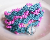 Crochet Jewelry Crochet Braclet Turquoise and Pink
