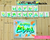 Off the Wall Collection - TMix : Print at Home Birthday Party Decorations | Hip Hop | Graffiti | 80s Party | DIY Printable | Digital Files