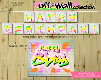 Off the Wall Collection - PMix : Print at Home Birthday Party Decorations | Hip Hop | Graffiti | 80s Party | DIY Printable | Digital Files