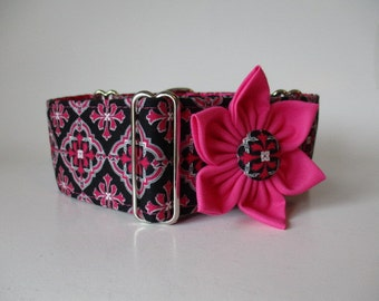 Hot Pink Martingale Collar and Collar Flower, Greyhound Martingale Collar, 2 inch Martingale Collar, Pink Dog Collar