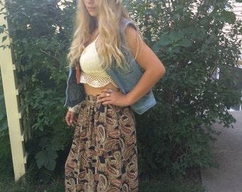 Vintage  SKIRT,size M vintage clothing, mid length skirt, vintage skirt, paisley skirt, long rayon  skirt, indie skirt, boho skirt, Zasra