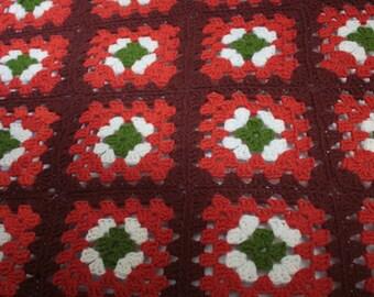 Vintage 1970's Crochet Blanket // 60's 70's Orange Knit Patchwork Blanket // Patchwork Knit Bedspread