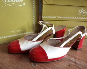 Vintage 1960s Heels // 50s 60s Red and White Chunky Heeled Mod Sling Back Pumps // NOS