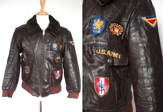 Rare Vintage 1950s Flight Jacket // 50s 60s Men's Brown