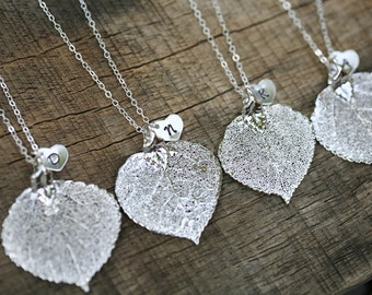 10% OFF,Set of 5,Sterling silver Leaf necklace,Heart necklace,Bridesmaid gifts,Fall Autumn Wedding,Personalized,Monogram necklace,Aspen lea