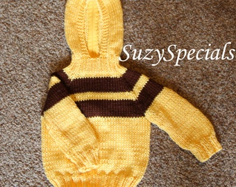 Knitted Hooded Baby Sweater Yellow with Brown Yoke Ready to Ship