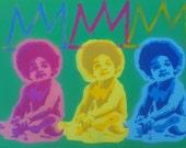 1 DIGITAL DOWNLOAD,B.I.G, baby painting,King Samo crown,pink,blue,yellow,spray paints,stencil art,pop art,hip hop art,afro kid,Basquait,rap