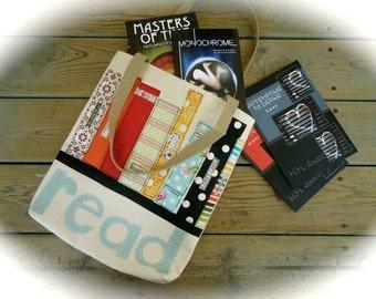 Book Bag, Book tote, appliqued Book Tote, Library tote