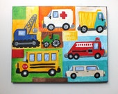 Transportation Art for Boy Room, Vroom No. 27, 11x14 acrylic painting for kids room or nursery