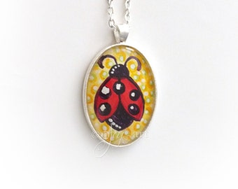 Art Pendant, Ladybug, pendant with necklace, original acrylic painting under glass, mini art, NOT A PRINT