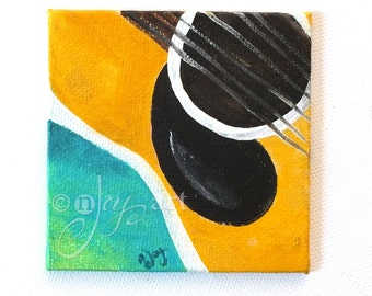 GUITAR Art Magnet, 3x3 inch acrylic canvas painting, magnet for home or office