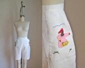 vintage 1950s/60s shorts - COCONUT FARMERS applique cream bermuda shorts  / M