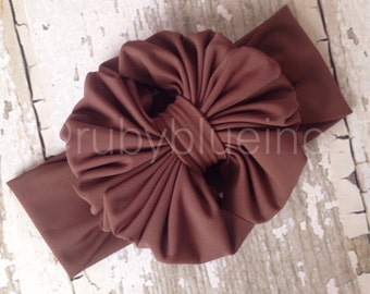 Brown Messy Bow Head Wrap - Pool Safe