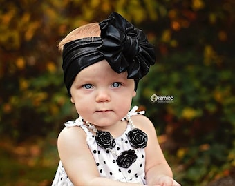 Black Metallic Messy Bow Head Wrap - Pool Safe