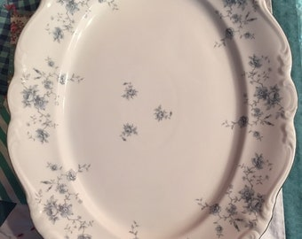 Vintage Blue Garland Johann Haviland Large Serving Platter Bavaria Germany #3113