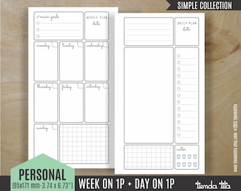 PERSONAL WEEK on 1 page + Day on 1 page | Simple Collection | Filofax Personal / Kikki k Medium inserts | PDF files