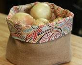 Medium Burlap and Fabric Produce Basket