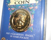 Guardian Angel Coin,2 sided, Gold plated, Gift case, Pocket Angel