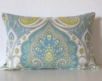 Latika Pool medallion linen green blue teal decorative pillow cover accent pillow
