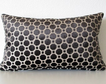 Robert Allen Velvet Geo Black decorative pillow cover