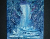 waterfall watercolour art aceo painting ref 185