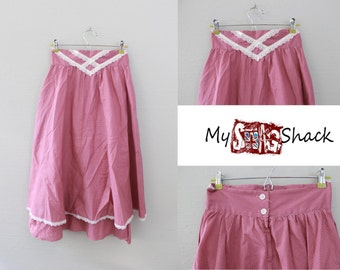 Vintage 70s High Rise Pink Rose Polka Dot Skirt by Gunnies Gunne Sax By Jessica McClintock