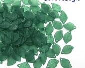 60 Acrylic Leaf Beads Charms. Matte Dull Dark Green Tone