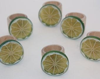Lime Napkin Rings Set of 6