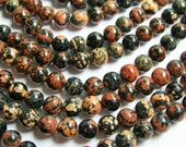 Red Snowflake Obsidian - 6 mm  round beads -1 full strand - 69 beads - A quality - Flower obsidian - RFG419