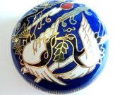 Cloisonne Enamel Trinket Pot... Bright Blue White Birds Stork