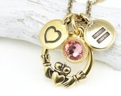Equality Necklace Gold Jewelry - Antique Gold and Swarovski Crystal Charm Necklace Personalized Custom Color Equality Jewelry Love Wins LGBT
