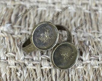 6 pcs Antique brass Double ring base Adjustable RING round Base Cabochon,2 Round Bezel Cup Cabochon Mountings -- Newest Arrival pad size12mm