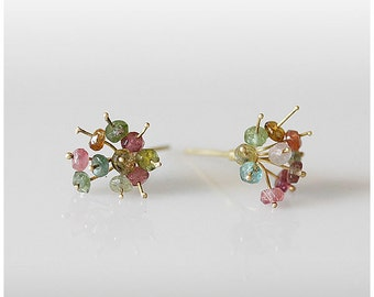 18K gold TOURMALINES BOUQUET stud earrings hand forged & designed