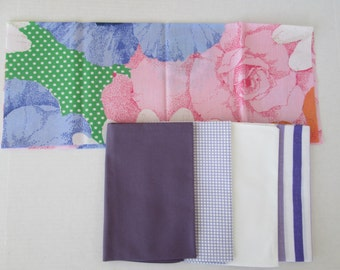 Vintage Sheet Fabric, Reclaimed Bed Linen Fabrics, Fat Quarter Bundle, Violet Blue Pansie Pack (5 Pack)