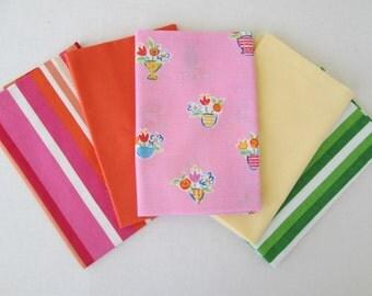 Vintage Sheet Fabric, Reclaimed Bed Linen Fabrics, Fat Quarter Bundle,  (5 Pack)