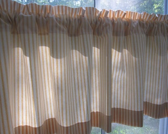 Curtain, Valance, Cafe, Window Curtain, Yellow Woven Cotton Ticking Stripe Curtain Valance or Cafe 50 x 16, 24, 36, 48