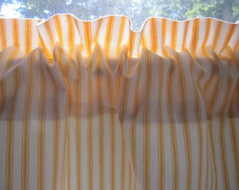 2 Curtains, Drapes, Window Curtains, Set of 2 Yellow and Off White Woven Cotton Ticking Stripe Curtain Panels 50 x 63, 72, 84, 96, 108