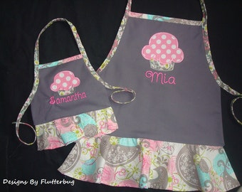 "MATCHING PERSONALIZED Girls and 18"" Doll Apron Set- Childs Play Apron -Cooking Apron- Gray, Pink and Blue with Cupcake Design"