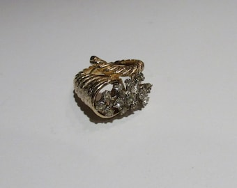 Vintage CORNUCOPIA  Cocktail Ring Gold Tone Faux Diamonds