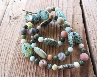 Blue Green Jasper and Amazonite Beaded Necklace