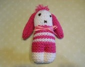Bunny Knitted in Hot Pink and White, Child's Stuffed Toy
