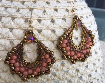 Beaded Gypsy Fan Earrings in Peach and Bronze