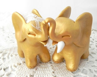 Wedding Cake Topper, Gold Elephants, Bride and Groom Keepsake