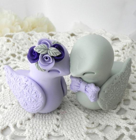 Love Birds Wedding Cake Topper, Lilac, Purple and Sage Green, Bride and Groom Keepsake, Fully Custom