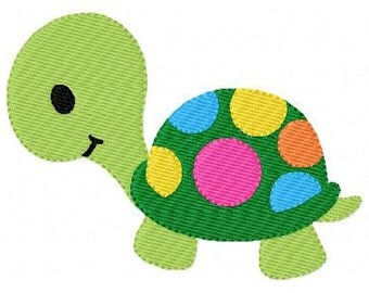 Turtle with Polka Dots Machine Embroidery Design // Joyful Stitches